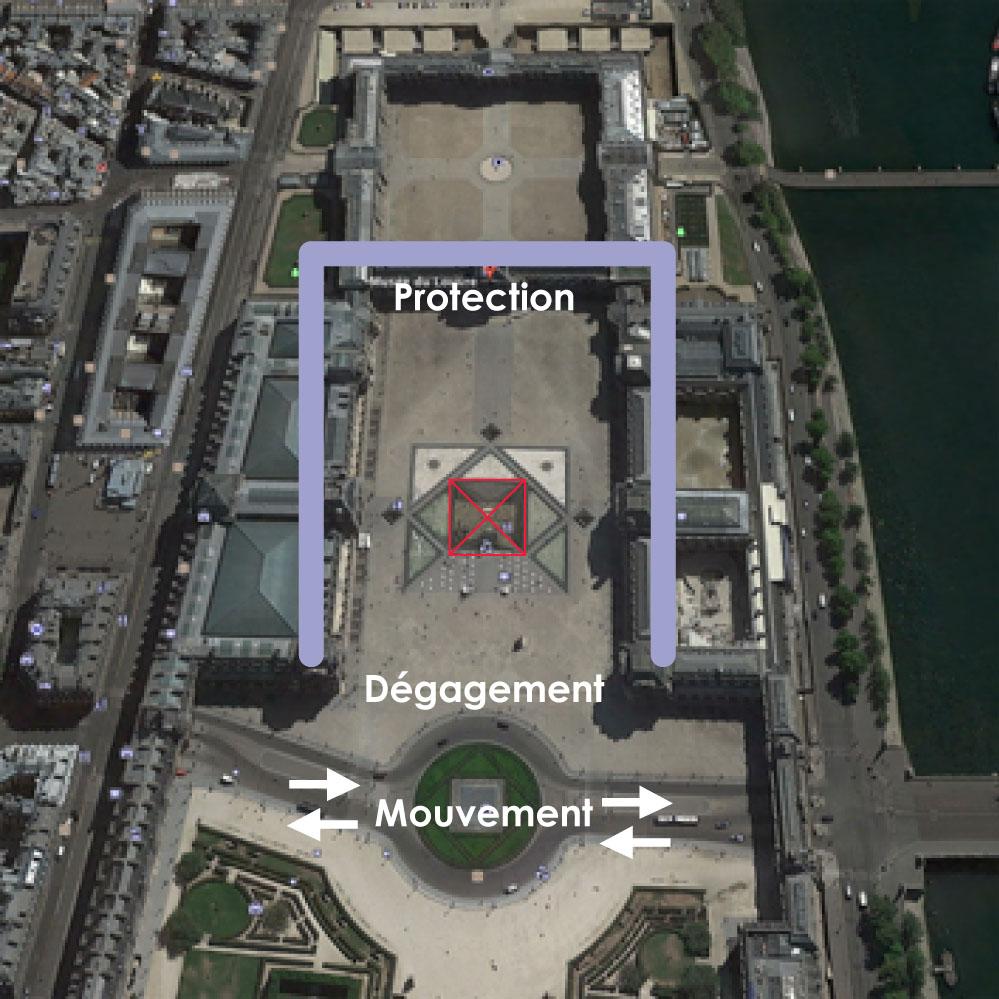 Pyramide bénéficiant de la protection du Louvre